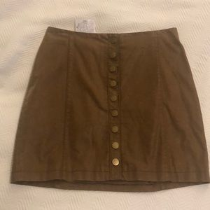 Brown vegan leather free people skirt